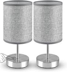 Amazon Com Touch Control Table Lamp Set Of 2 Moico 3 Way Dimmable Bedside Lamps With Silver Metal Base And Linen Fabric Shade Modern Nightstand Lamps For Bedroom Living Room Kids Room Office College