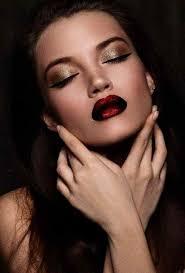70 s style makeup dark red lipstick