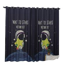 Space Themed Curtains Midnight Blue Drapes Stars Planet Panels For Kids Room