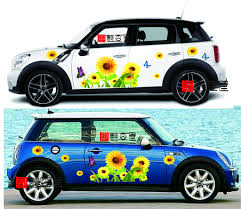 Free Shipping Outstanding Sun Flowers Pattern Fashion Car Stickers Car Hood Decals 3d Fiber The Whole Car Body Colorful Us 4 Car Stickers Car Decals Vinyl Car