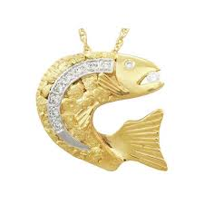 leaping salmon gold nugget pendants