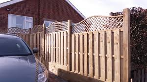 Hit Miss Flat Top Fence Panels With A Wave Trellis Added To The Top To Create A Stunning Appearance And A Great Addition To A Fence Panels Wooden Fence Fence