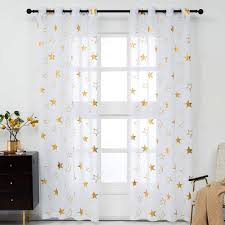 Amazon Com Kotile Star Curtains For Kids Room White Gold Star Sheer Curtains Grommet Kids Star Window Curtains 84 Inch Length 52 X 84 Inches 2 Panels Home Kitchen