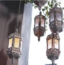 hanging coloured glass lantern tea