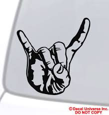 Sign Of The Horns Vinyl Decal Sticker Car Window Bumper Rock Metal Hand Symbol For Sale Online