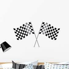 Checkered Flags Racing Flags Wall Decal Sticker By Wallmonkeys Vinyl Peel And Stick Graphic 36 In W X 20 In H Walmart Com Walmart Com
