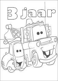 Kids N Fun Kleurplaat Cars Verjaardag Takel 3 Jaar