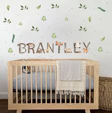 Baby Decor Nursery Safari Theme Fabric Decals Baby Name Etsy