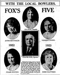 Fox Five Bowlers, Indianapolis Star, 19 Feb 1923 p 12 - Historic  Indianapolis   All Things Indianapolis History
