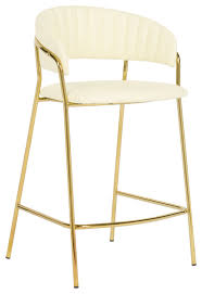 faux cream leather counter stool