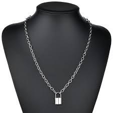 punk gold silver lock pendant necklace