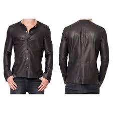men s black causal leather shirt