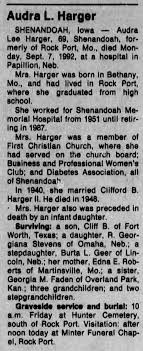 Obituary for Audra Lee Harger (Aged 69) - Newspapers.com