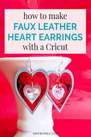 faux leather heart crystal earrings