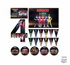 Kit Impreso Power Rangers Invitacion Banderin Cartel Sticker