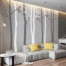 Amazon Com N Sunforest 7 8ft Grey And White Birch Tree Vinyl Wall Decals Nursery Forest Family Tree Wall Stickers Art Decor Murals Set Of 8 Home Kitchen