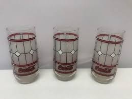 set of 3 vintage libbey coca cola e