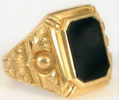 14k yellow gold onyx signet