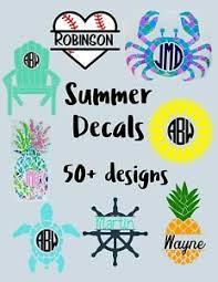 Summer Beach Decal Vinyl Monogram Initial Personalize Sea Sticker Car Tumbler Ebay