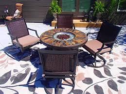 living 5 piece fire pit patio set