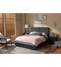 solo black faux leather platform bed