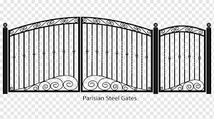 Parisian Steel Gates Fence Gate Wrought Iron Fancy Gate Outdoor Structure Monochrome Home Fencing Png Pngwing