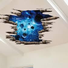 Creative 3d Blue Cosmic Galaxy Wall Decals Removable Pvc Magic 3d Milky Way Outer Space Planet Window Wall Stickers Murals Wallpaper Decor Walmart Com Walmart Com