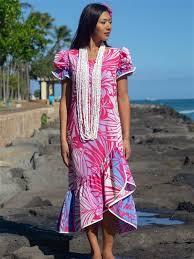 Exclusive] Anuenue Hibiscus & Plumeria Fuchsia & Cream Poly Cotton Hawaiian Myra  Long Muumuu Dress | AlohaOutlet