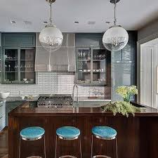 two tone glass globe kitchen island