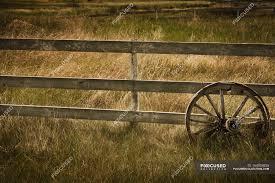 Wagon Wheel Against Fence Colour Clean Stock Photo 164924836