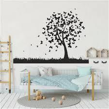 Tree Wall Sticker Office Dorm Room Diy Tree Grass Wall Decal Bedroom Nursery Vinyl Decor Wl1255 Wall Stickers Aliexpress