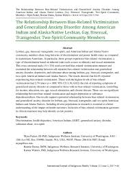 PDF) The Relationship Between Bias-Related Victimization and Generalized  Anxiety Disorder Among American Indian and Alaska Native Lesbian, Gay,  Bisexual, Transgender, Two-Spirit Community Members | Myra Parker and  Bonnie Duran - Academia.edu