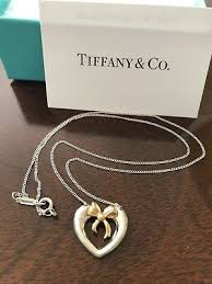 sterling silver 18k 750 gold heart bow