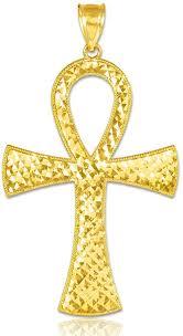 14k yellow gold egyptian ankh cross