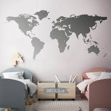 World Map Wall Decal Map Of The World Removable Vinyl Wall Etsy