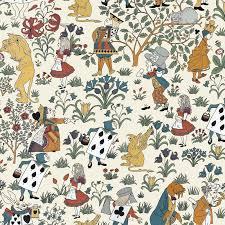 alice in wonderland wallpaper cream
