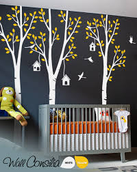 Set Of Nursery Birch Trees With Birds Removable Wall Decalswallconsilia Com