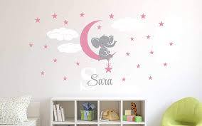 Amazon Com Custom Name Initial Elephant Stars And Clouds Prime Series Baby Girl Nursery Wall Decal For Baby Room Decorations Mural Wall Decal Sticker For Home Children S Bedroom