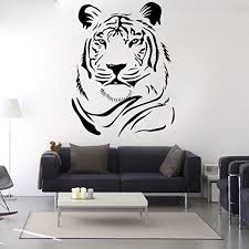 Amazon Com Wadecora Removable Wall Decals Diy Tiger Wall Stickers For Kids Room Living Room Office Kitchen Bedroom Home Decor 23x30 Home Kitchen