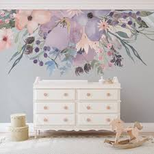 Wild Spring Garden Border Pink Lavender Watercolor Flowers Wall Decal Motomoms Decor