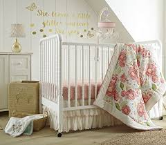 Levtex Baby Charlotte Coral And Cream Floral 5 Piece Crib Bedding Set Quilt 100 Cotton Crib Fitted Sheets X 2 2 Tiered Dust Ruffle And Large Wall Decals Market4kids Com