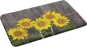 Amazon Com Sunflower Bath Mat Non Slip Modern Bath Rugs Helianthus Sunflowers Against Weathered Aged Fence Summer Garden Photo 24 By 35 Inch Washable Floor Throw Rug For Tub Shower Home Kitchen
