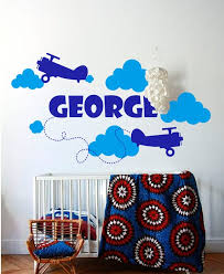 Personalized Name Wall Decal Airplane Wall Decal Boys Room Etsy