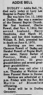 Obituary for ADDIE BELL Bell (Aged 79) - Newspapers.com