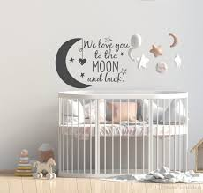 We Love You To The Moon And Back Wall Decal Nursery Quotes Moon And Stars Wall Sticker Children Room Decor Ideas Kids Rooms Wall Art Murals Decals Stickers Wall Art Quote Stickers