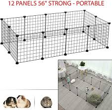 Amazon Com 12 Metal Panels 56 Strong Portable Pet Playpen Puppy Dog Fences Gate Home Indoor Outdoor Fence Exercise Perfect For Small Pet Hedgehogs Hamsters Guinea Pigs Or Rabbits Pet Supplies