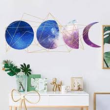 Amazon Com Moon Phase Wall Decal Creative Diy Starry Wall Sticker Murals For Bedroom Living Room Office Classroom Kids Room Wall Decoration 15 7 X23 6 Arts Crafts Sewing