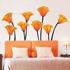 Amazon Com Chromantics California Poppies Watercolor Wall Decal Set Flower Wall Decals Home Kitchen