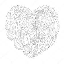 Heart Shape Coloring Leaves Heart Shaped Coloring For Adults