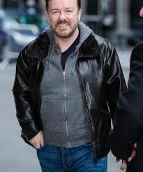 After Life Tony Johnson Shearling Collar Black Jacket - The Movie Fashion